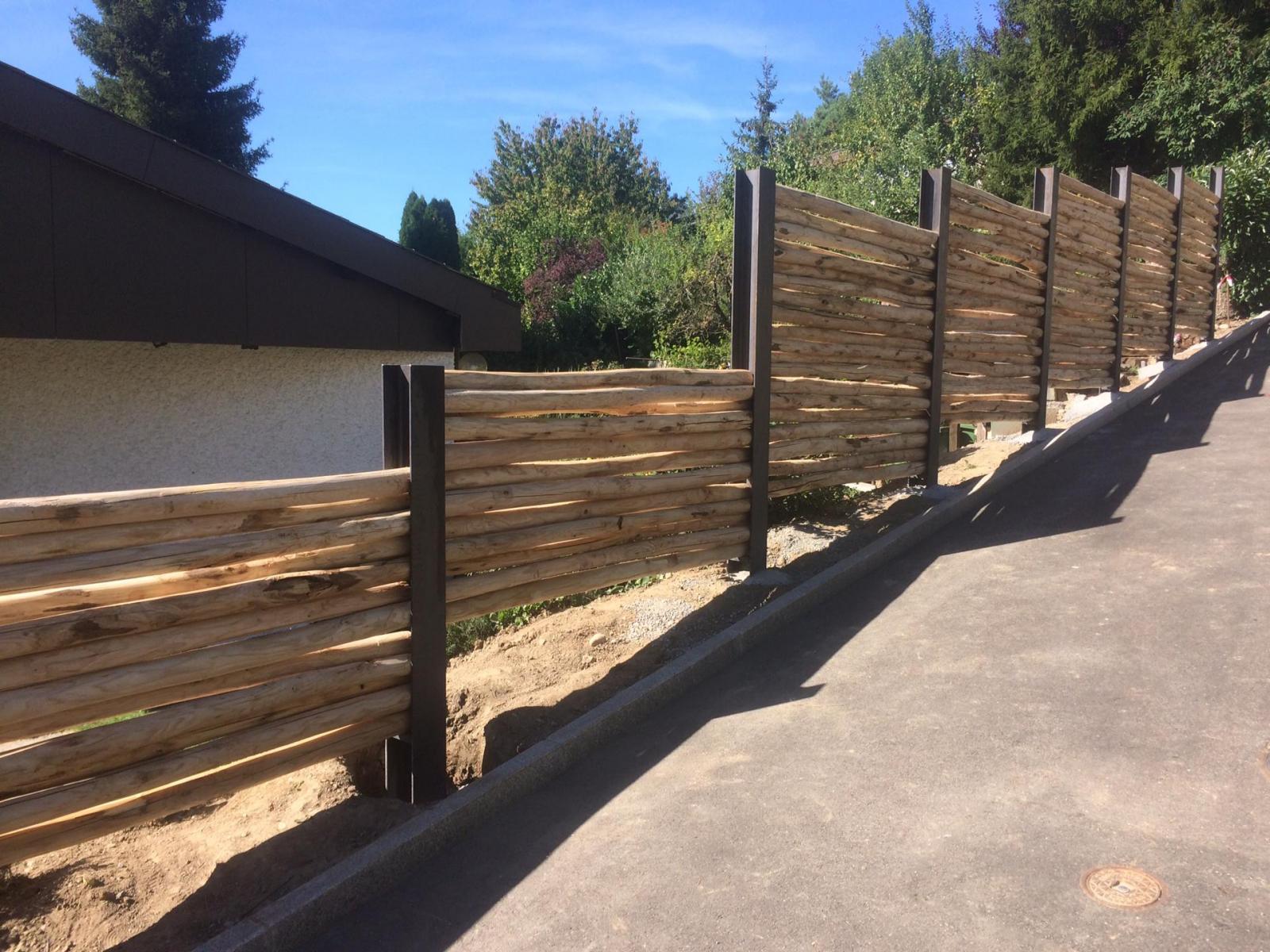 Palisaden-Kastanienholz-Sichtschutz-Wand