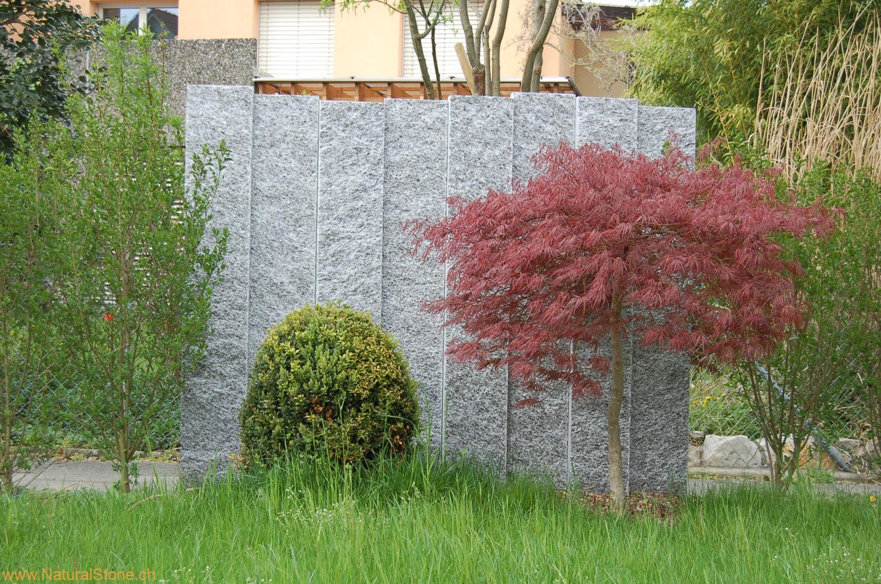 Palisaden als Gestaltungselement vor Ahorn Baum